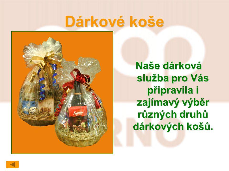 Dárkové koše Naše dárková služba pro Vás připravila i zajímavý výběr různých druhů dárkových košů.
