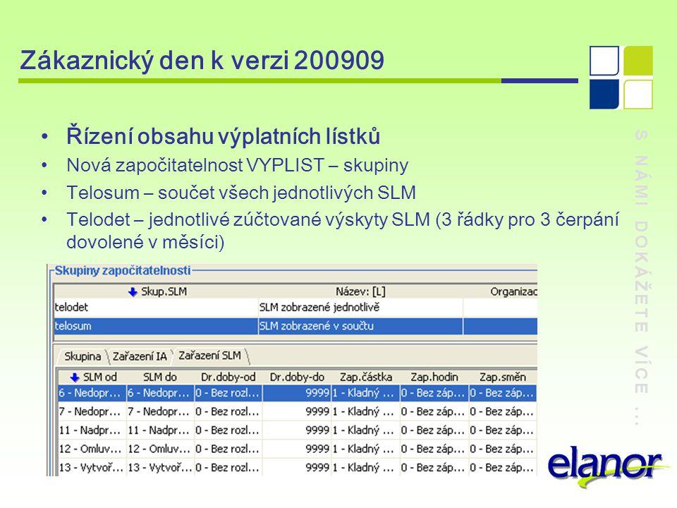 Zákaznický den k verzi 200909 Řízení obsahu výplatních lístků