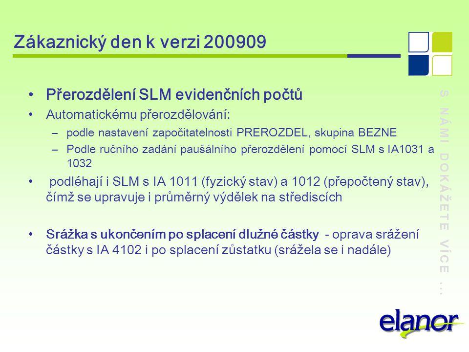 Zákaznický den k verzi 200909 Přerozdělení SLM evidenčních počtů