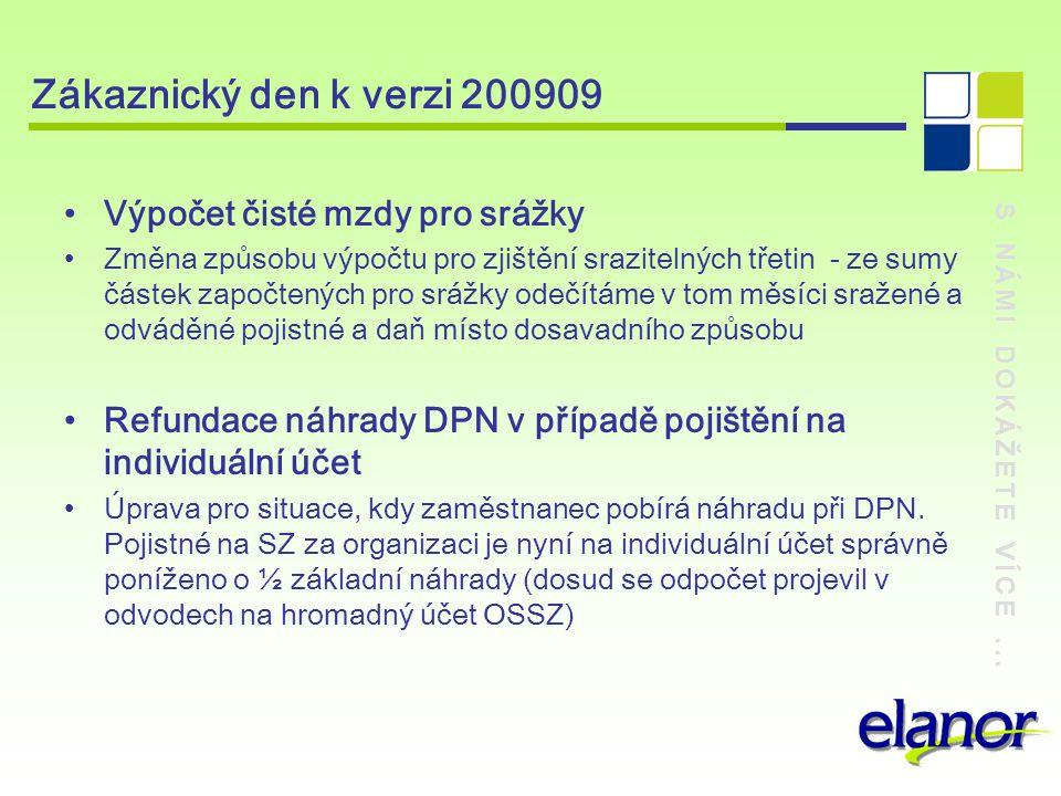 Zákaznický den k verzi 200909 Výpočet čisté mzdy pro srážky