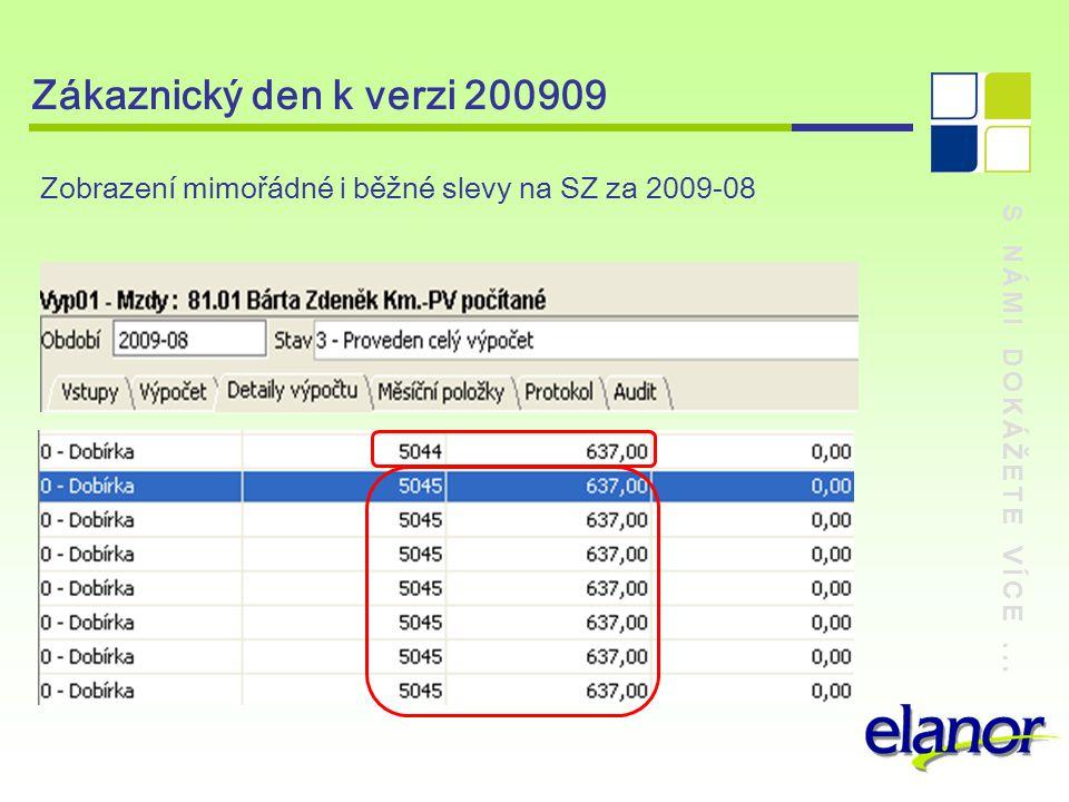 Zákaznický den k verzi 200909 Zobrazení mimořádné i běžné slevy na SZ za 2009-08.