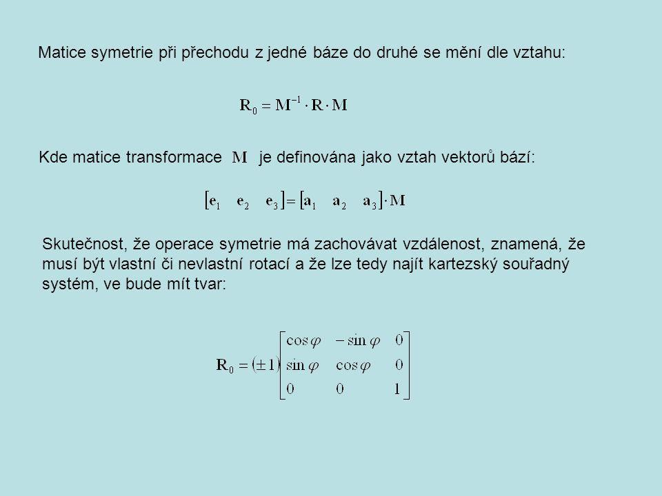 Matice symetrie při přechodu z jedné báze do druhé se mění dle vztahu:
