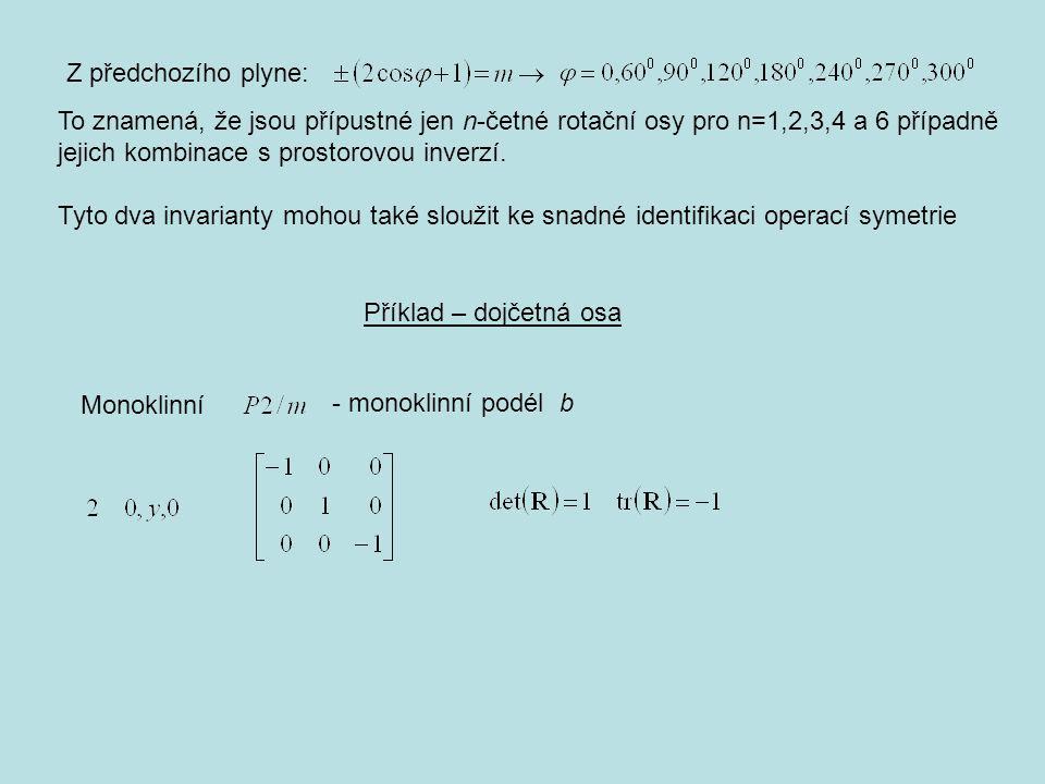 Z předchozího plyne: To znamená, že jsou přípustné jen n-četné rotační osy pro n=1,2,3,4 a 6 případně jejich kombinace s prostorovou inverzí.