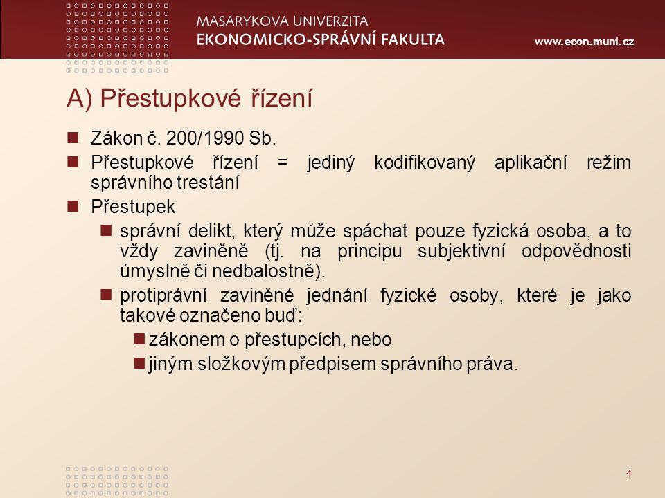 A) Přestupkové řízení Zákon č. 200/1990 Sb.