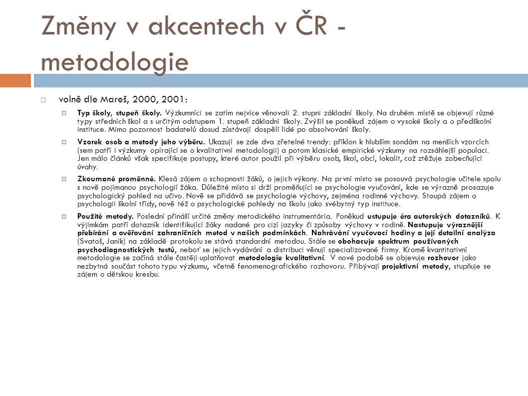 Změny v akcentech v ČR - metodologie