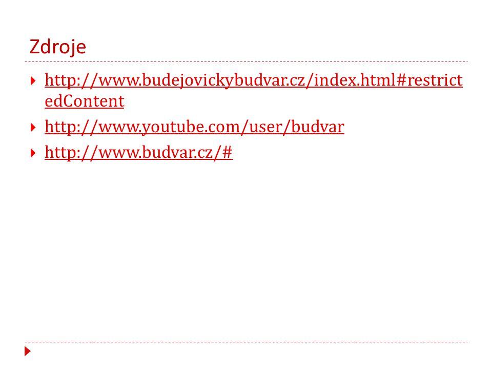 Zdroje http://www.budejovickybudvar.cz/index.html#restrict edContent
