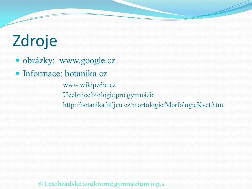 Zdroje obrázky: www.google.cz Informace: botanika.cz www.wikipedie.cz
