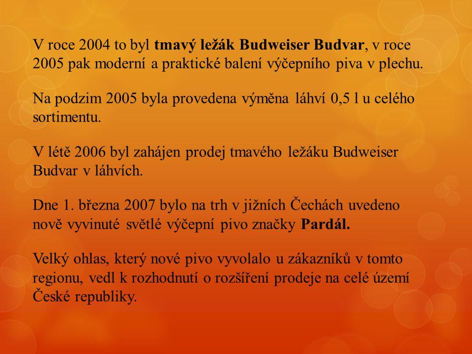 V roce 2004 to byl tmavý ležák Budweiser Budvar, v roce 2005 pak moderní a praktické balení výčepního piva v plechu.
