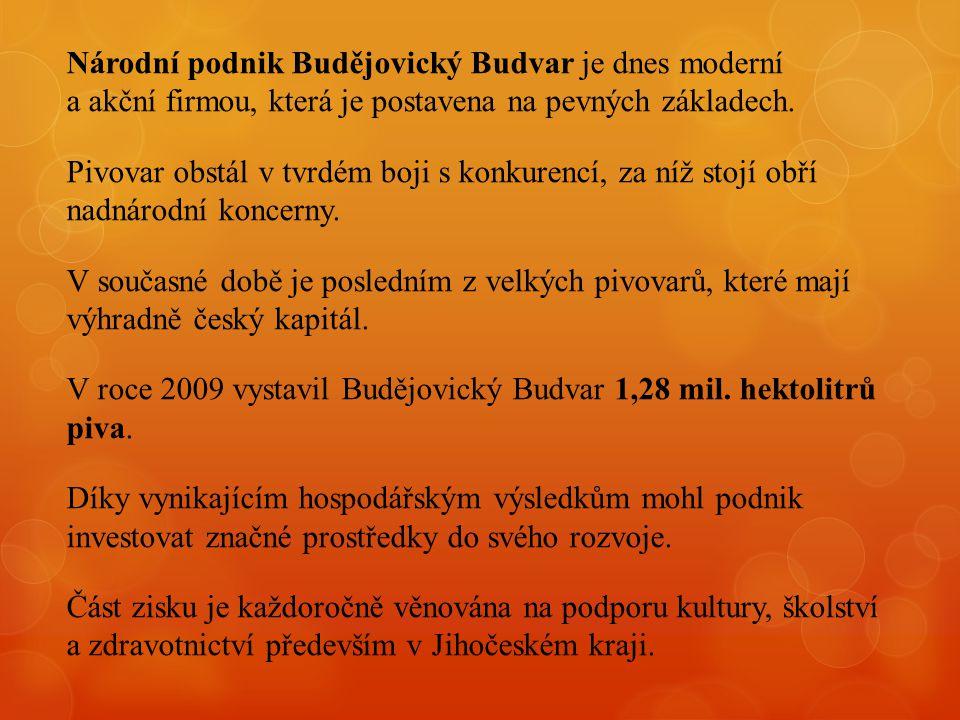 Národní podnik Budějovický Budvar je dnes moderní a akční firmou, která je postavena na pevných základech.