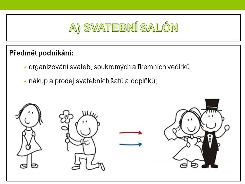 A) SVATEBNÍ SALÓN Předmět podnikání: