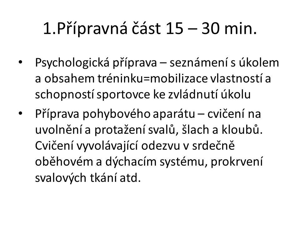 1.Přípravná část 15 – 30 min.