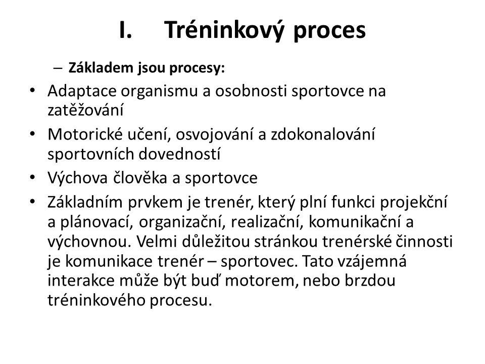 Tréninkový proces Základem jsou procesy: Adaptace organismu a osobnosti sportovce na zatěžování.