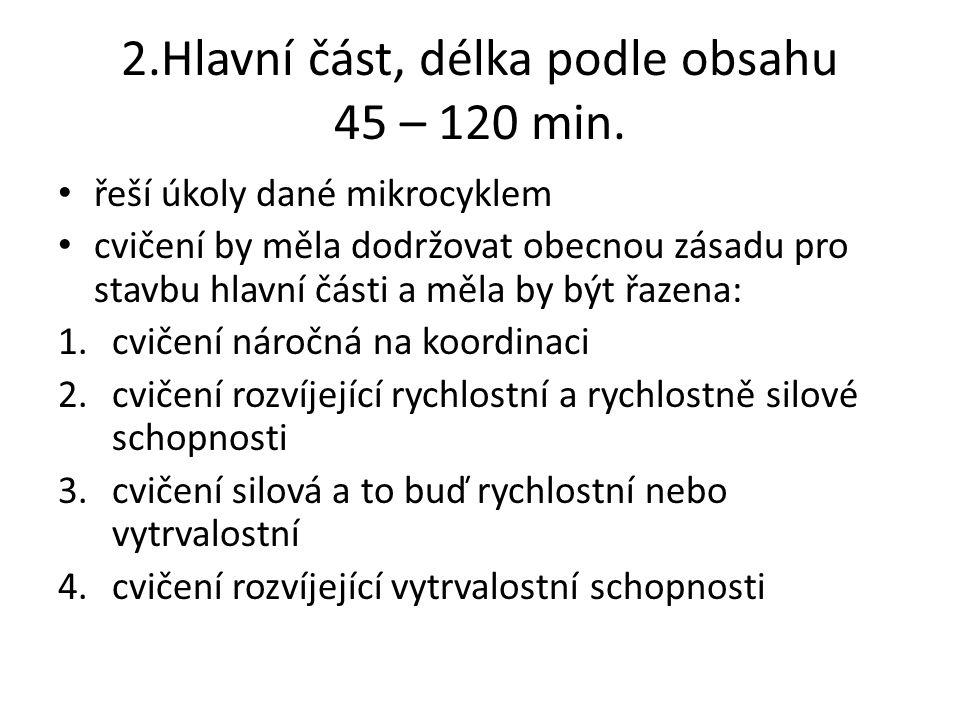 2.Hlavní část, délka podle obsahu 45 – 120 min.