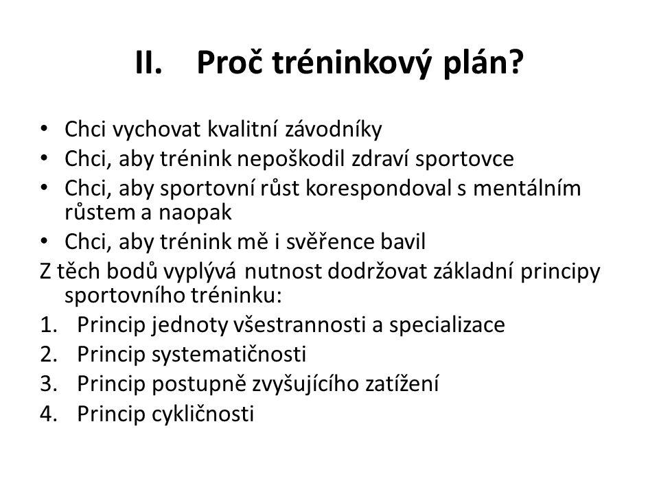 II. Proč tréninkový plán