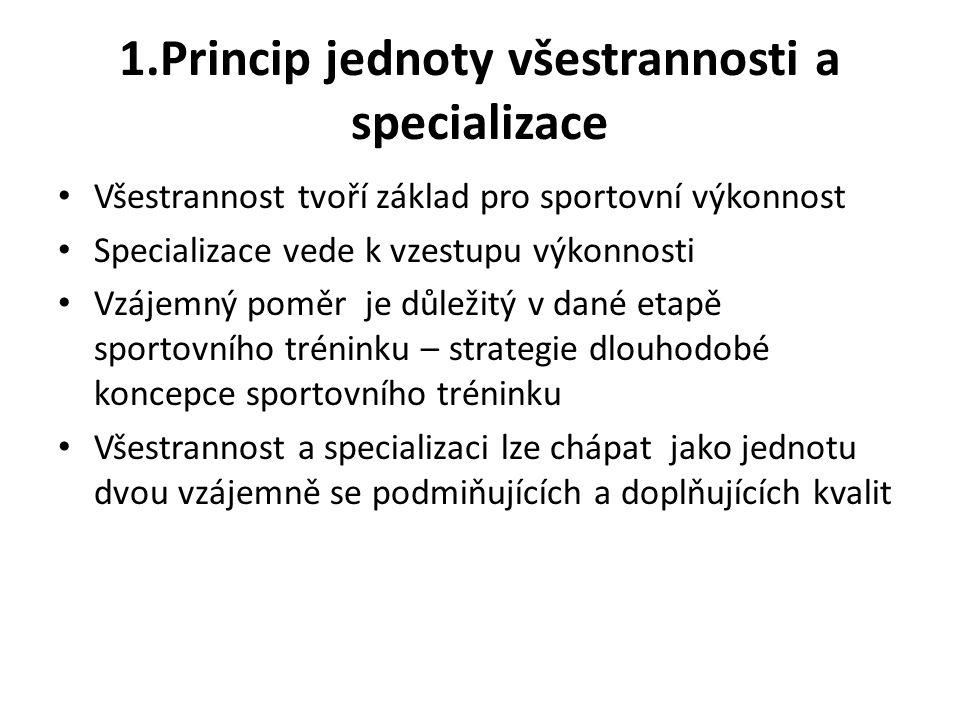 1.Princip jednoty všestrannosti a specializace