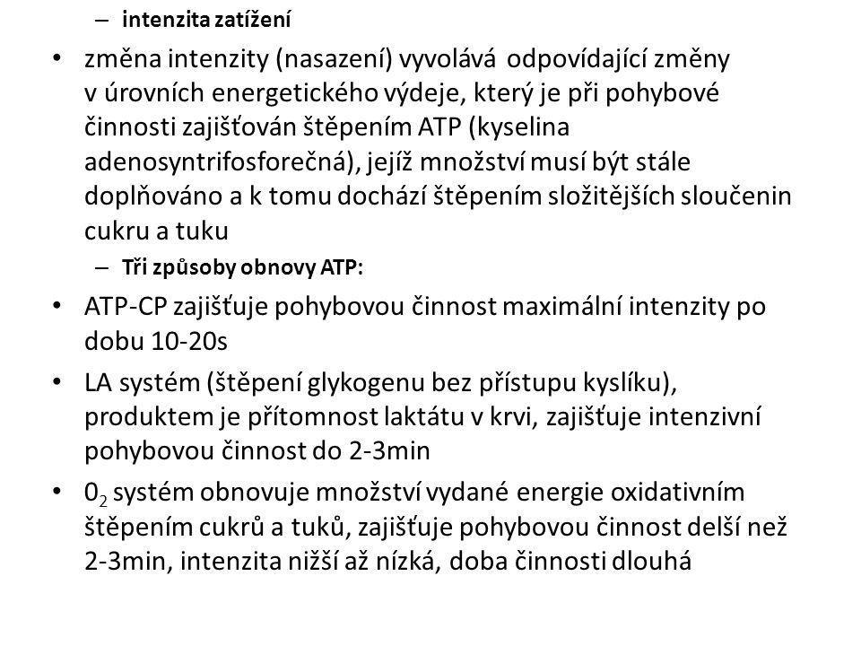 ATP-CP zajišťuje pohybovou činnost maximální intenzity po dobu 10-20s