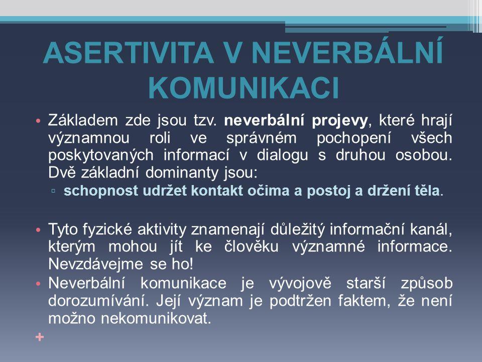 ASERTIVITA V NEVERBÁLNÍ KOMUNIKACI