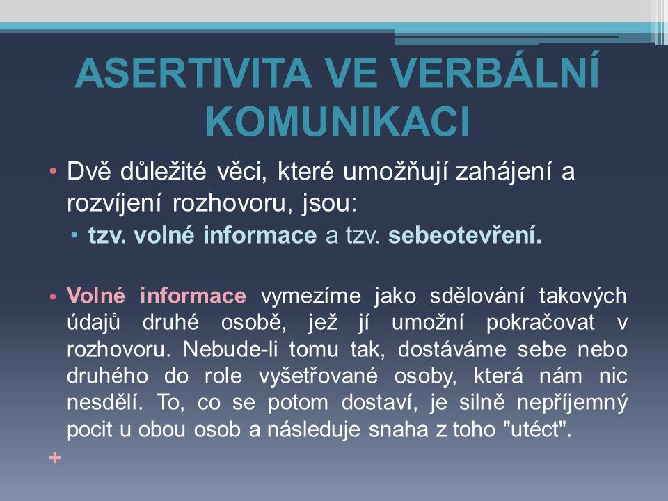 ASERTIVITA VE VERBÁLNÍ KOMUNIKACI