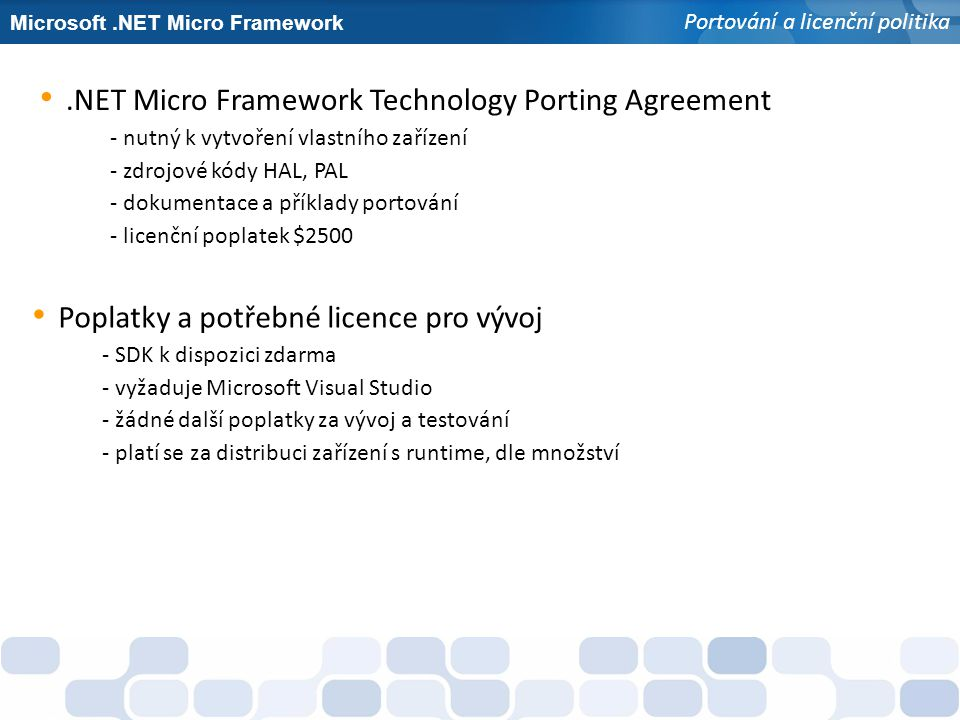 .NET Micro Framework Technology Porting Agreement
