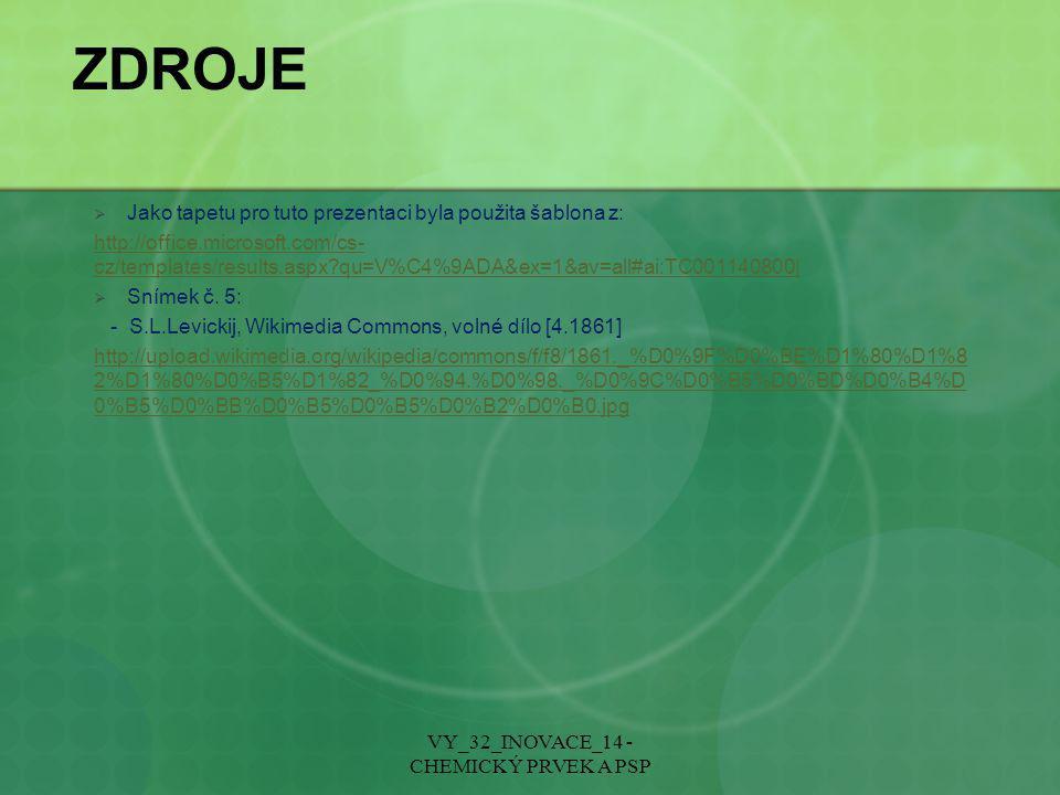 VY_32_INOVACE_14 - CHEMICKÝ PRVEK A PSP