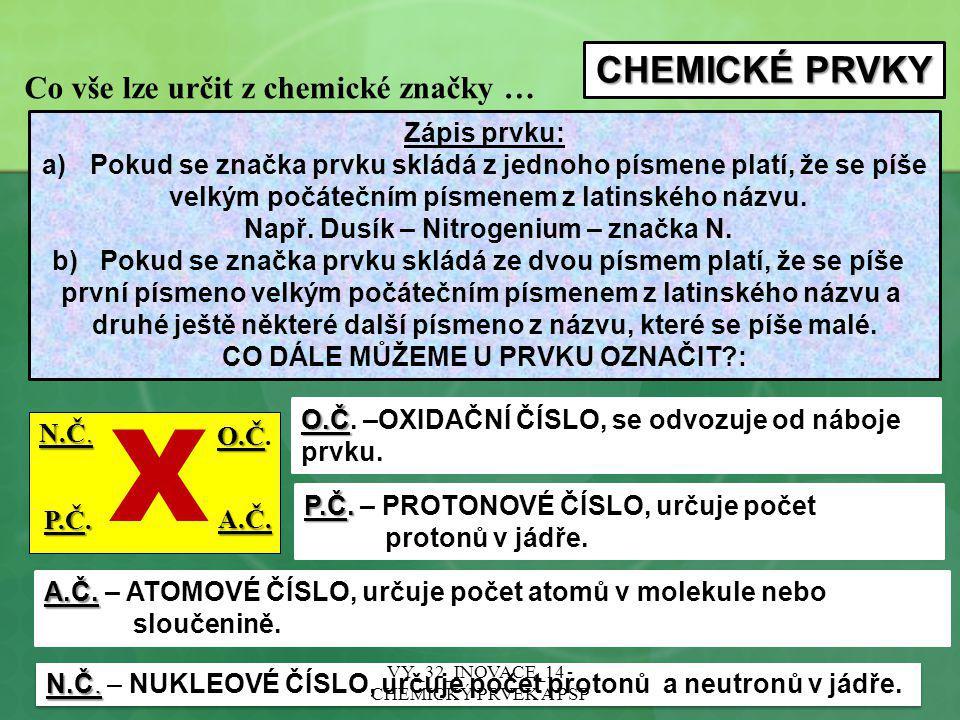 X CHEMICKÉ PRVKY Co vše lze určit z chemické značky … Zápis prvku: