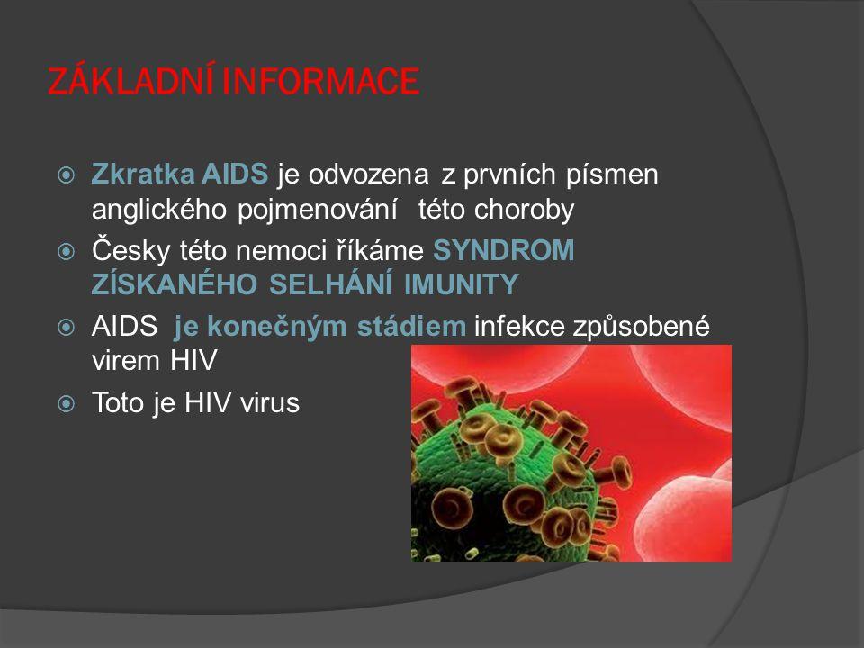 ZÁKLADNÍ INFORMACE Zkratka AIDS je odvozena z prvních písmen anglického pojmenování této choroby.
