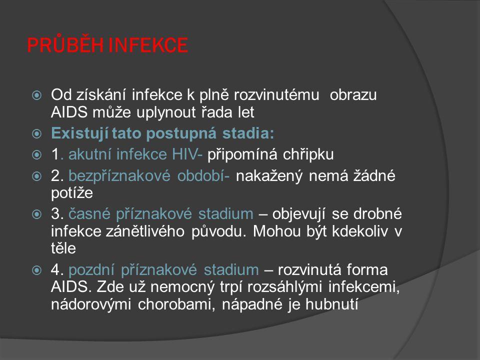PRŮBĚH INFEKCE Od získání infekce k plně rozvinutému obrazu AIDS může uplynout řada let. Existují tato postupná stadia: