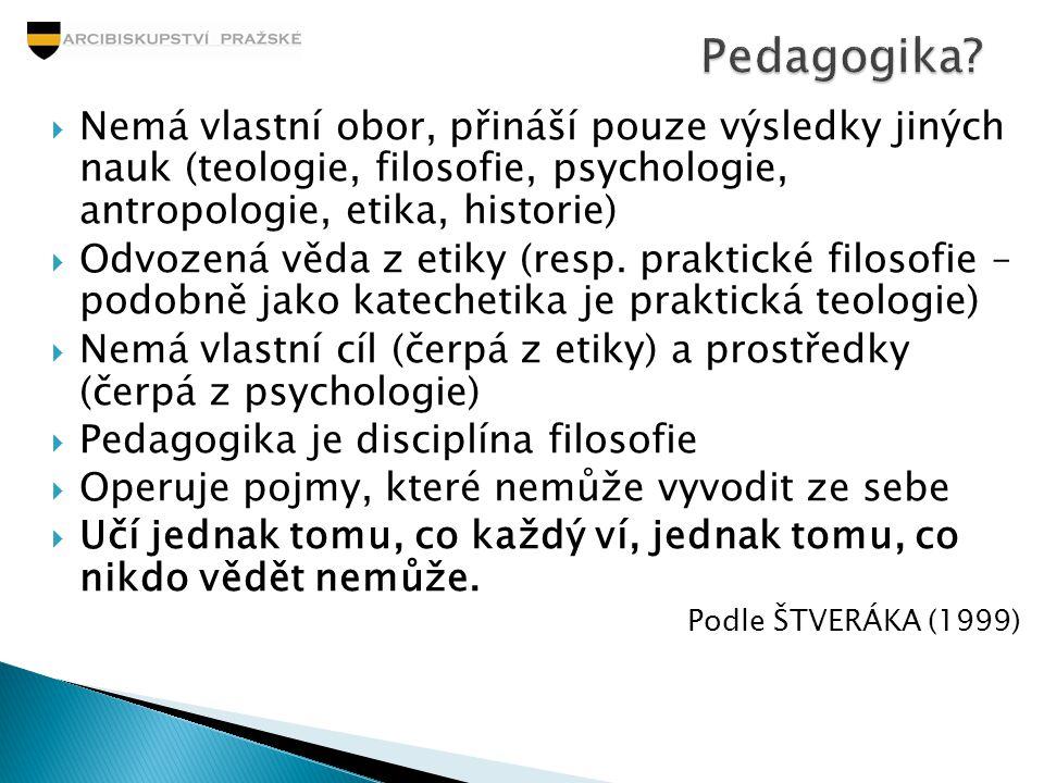 Pedagogika Nemá vlastní obor, přináší pouze výsledky jiných nauk (teologie, filosofie, psychologie, antropologie, etika, historie)