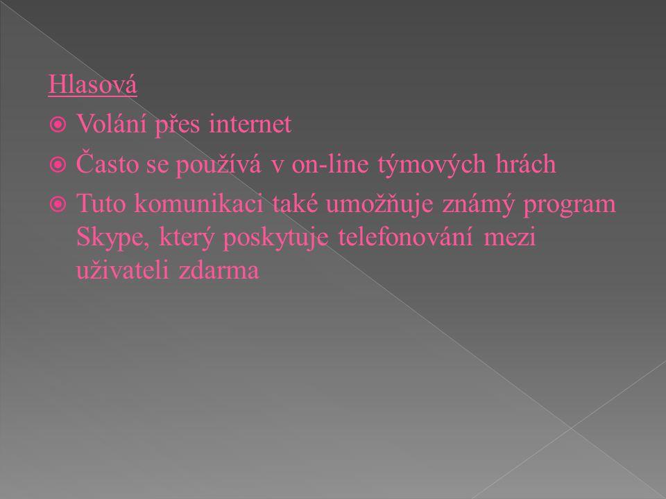 Hlasová Volání přes internet. Často se používá v on-line týmových hrách.