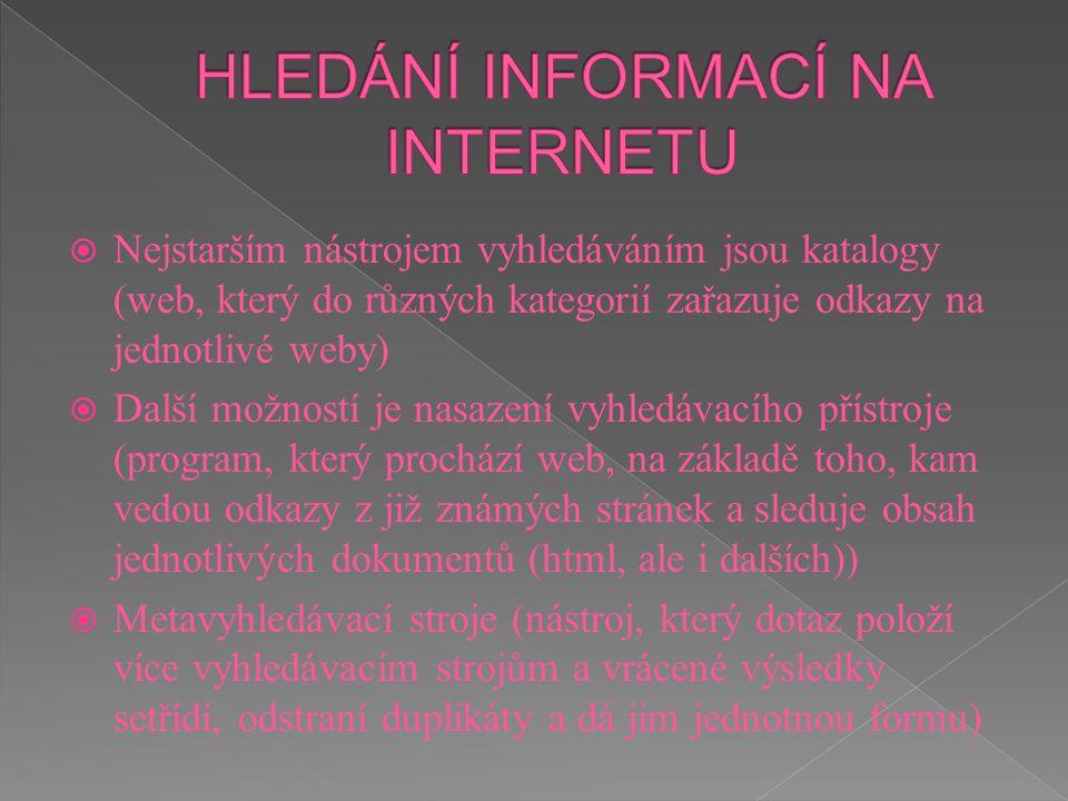 HLEDÁNÍ INFORMACÍ NA INTERNETU