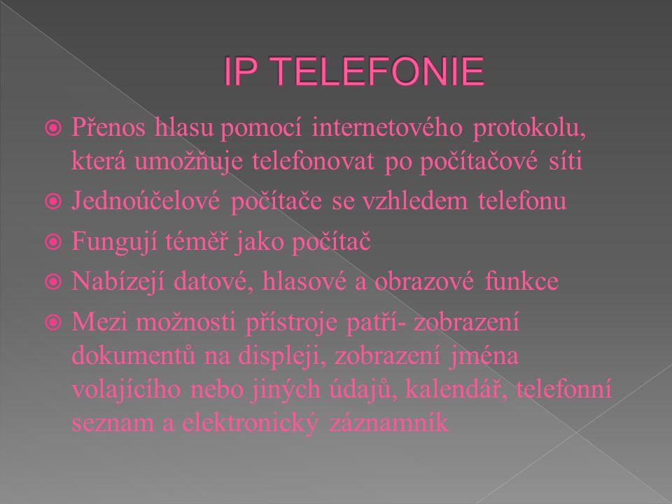 IP TELEFONIE Přenos hlasu pomocí internetového protokolu, která umožňuje telefonovat po počítačové síti.