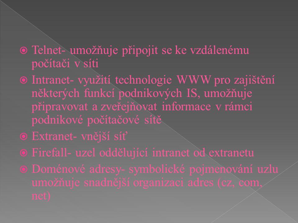 Telnet- umožňuje připojit se ke vzdálenému počítači v síti