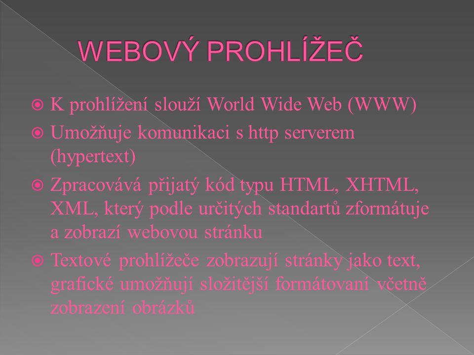 WEBOVÝ PROHLÍŽEČ K prohlížení slouží World Wide Web (WWW)