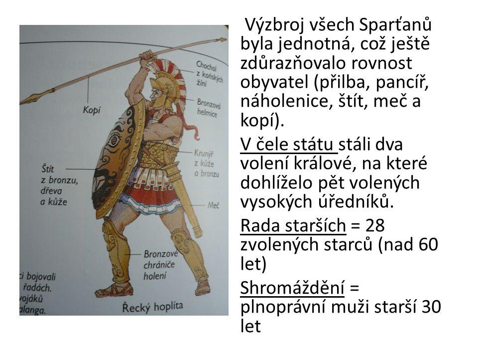 Výzbroj všech Sparťanů byla jednotná, což ještě zdůrazňovalo rovnost obyvatel (přilba, pancíř, náholenice, štít, meč a kopí).