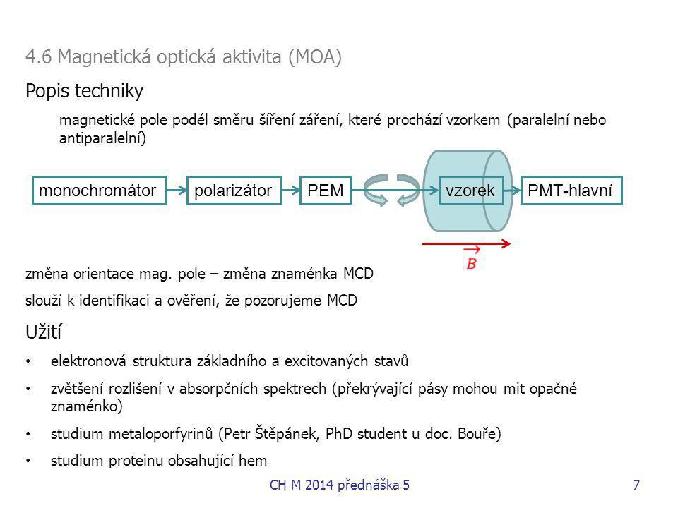 4.6 Magnetická optická aktivita (MOA) Popis techniky