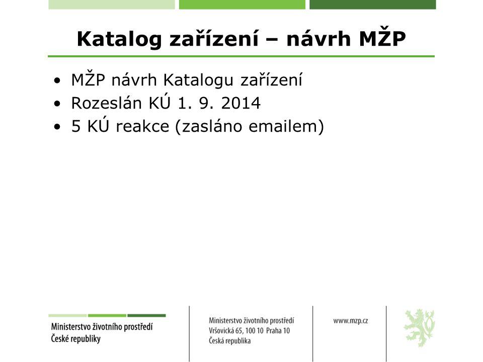 Katalog zařízení – návrh MŽP