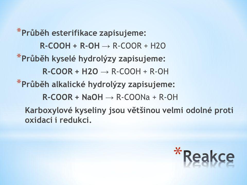 Reakce Průběh esterifikace zapisujeme: R-COOH + R-OH → R-COOR + H2O