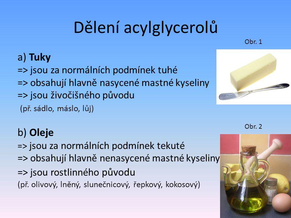 Dělení acylglycerolů a) Tuky b) Oleje