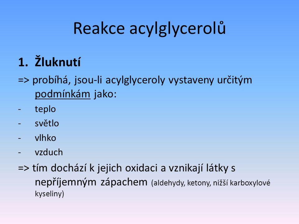 Reakce acylglycerolů Žluknutí