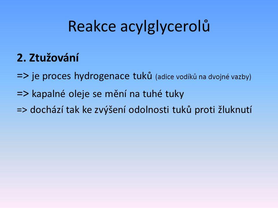 Reakce acylglycerolů 2. Ztužování