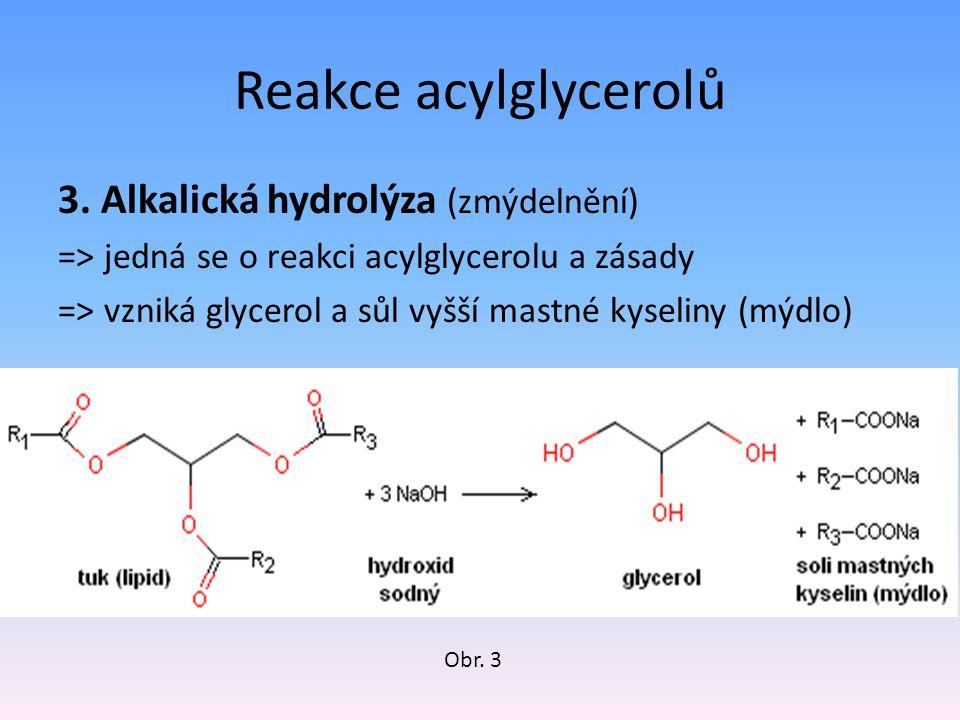 Reakce acylglycerolů 3. Alkalická hydrolýza (zmýdelnění)