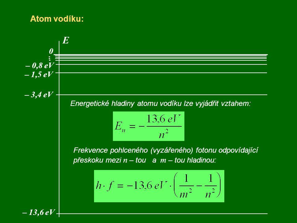 E Atom vodíku: . . . – 0,8 eV – 1,5 eV – 3,4 eV – 13,6 eV