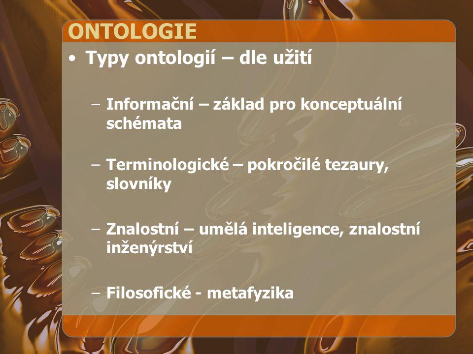 ONTOLOGIE Typy ontologií – dle užití