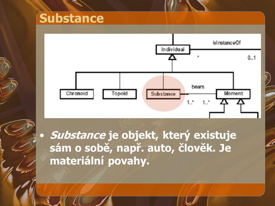 Substance Substance je objekt, který existuje sám o sobě, např. auto, člověk. Je materiální povahy.