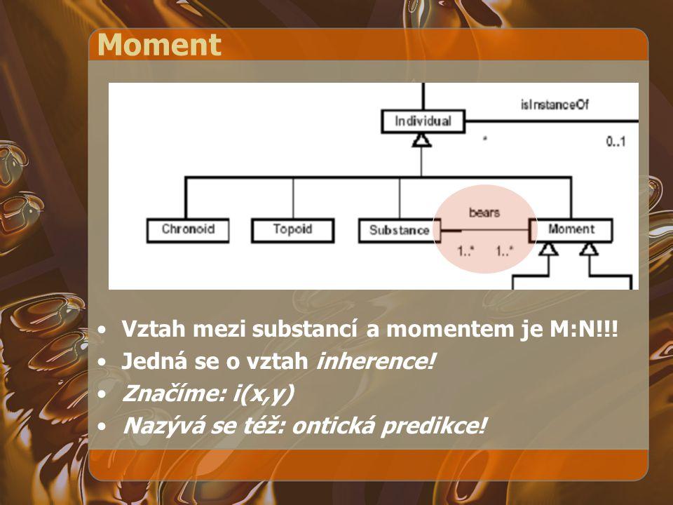 Moment Vztah mezi substancí a momentem je M:N!!!