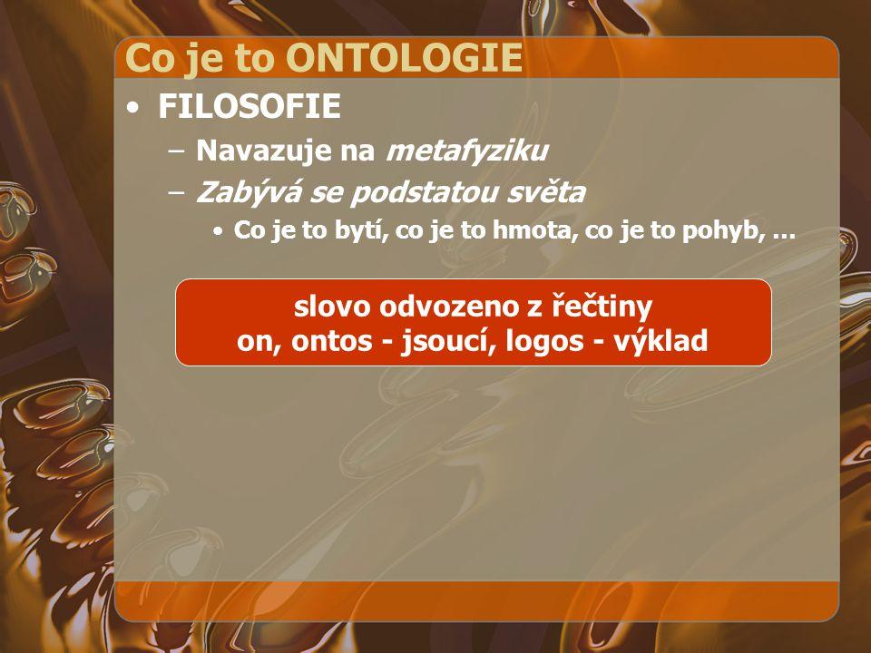 slovo odvozeno z řečtiny on, ontos - jsoucí, logos - výklad