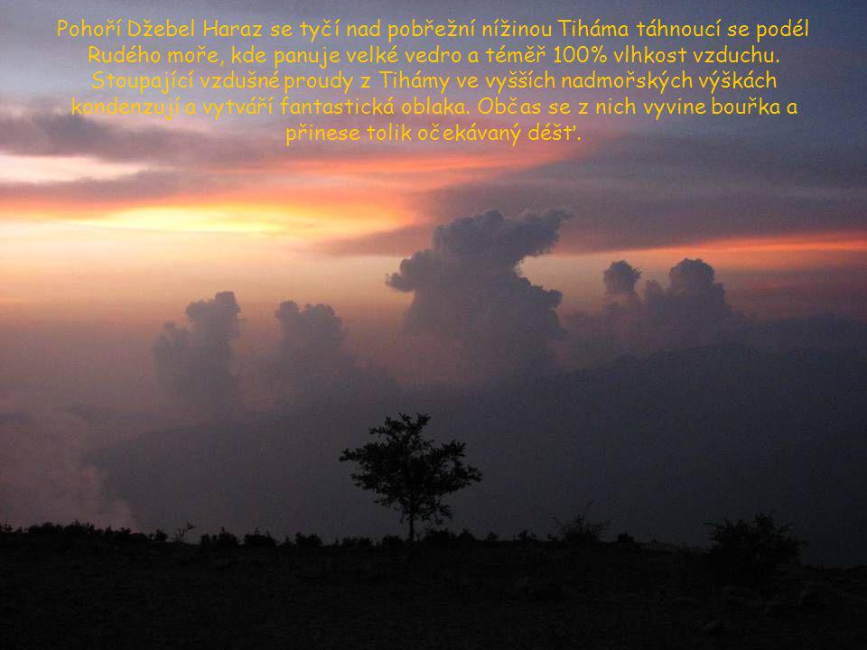 Pohoří Džebel Haraz se tyčí nad pobřežní nížinou Tiháma táhnoucí se podél Rudého moře, kde panuje velké vedro a téměř 100% vlhkost vzduchu.