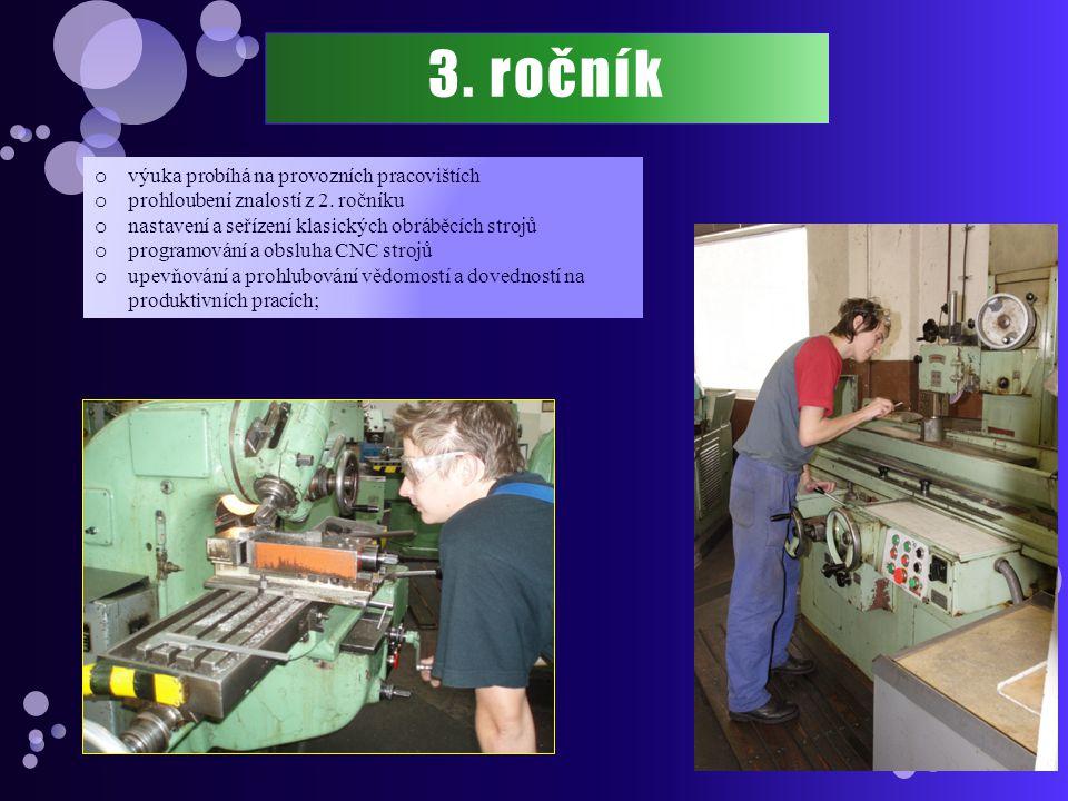 3. ročník výuka probíhá na provozních pracovištích
