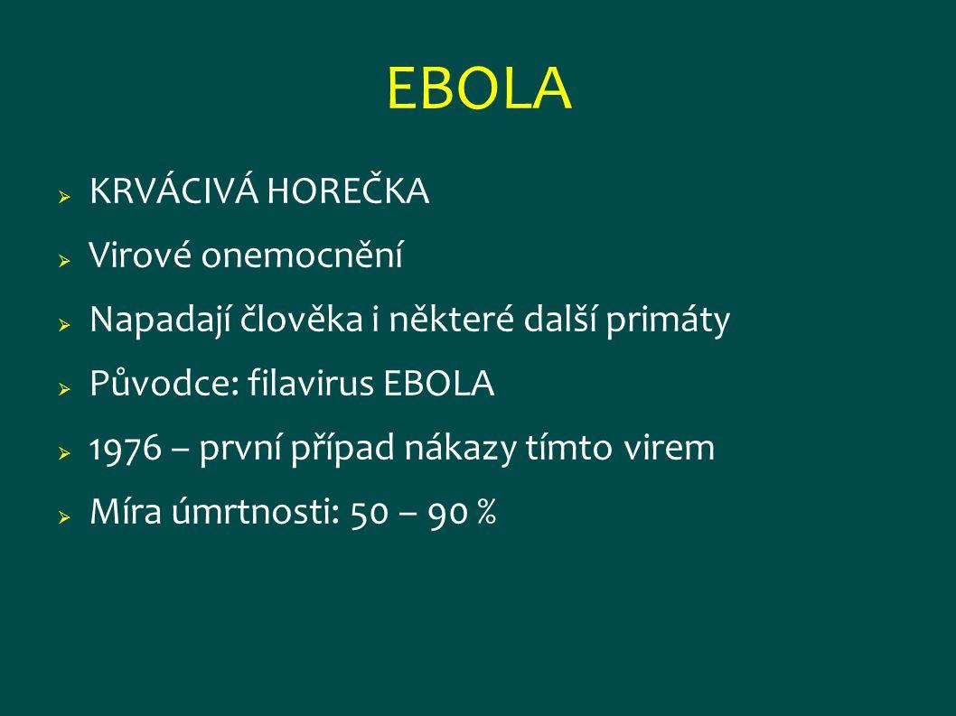 EBOLA KRVÁCIVÁ HOREČKA Virové onemocnění