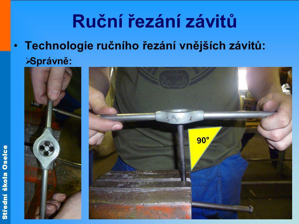 Ruční řezání závitů Technologie ručního řezání vnějších závitů: